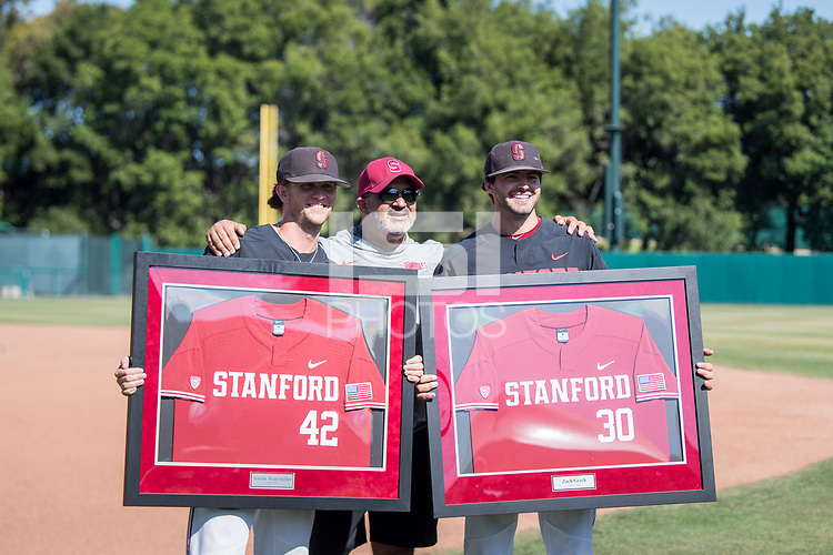 STANFORD, CA - MAY 29: Austin Weiermiller, Zach Grech after a game between Oregon State University and Stanford Baseball at Sunken Diamond on May 29, 2021 in Stanford, California.