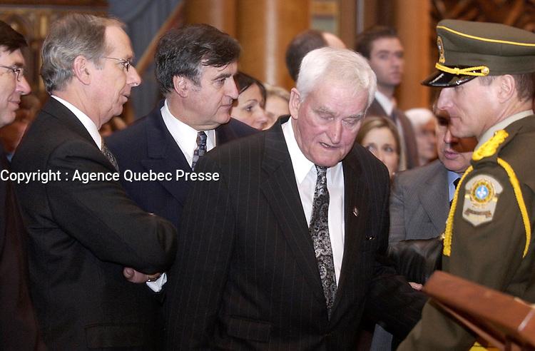 February 12, 2004 -  Yves Ryan attend the  Wake of Claude Ryan<br /> , former leader of the Liberal Party of Quebec, former editor, Le Devoir<br /> <br /> Archive - 12 fevrier 2004 - Le cerceuil  de Claude Ryan, ancien chef du PLQ et ancien redacteur en chef du Devoir, a la Basilique Notre-Dame
