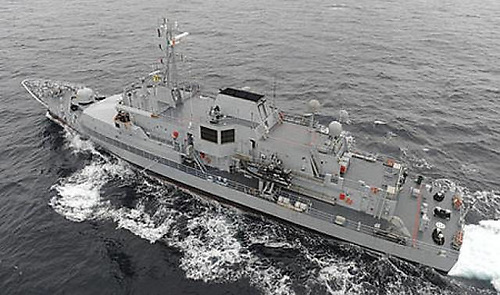 The LÉ Roisin detained the Punta Candierira approximately 95 Nautical Miles South of Mizen Head