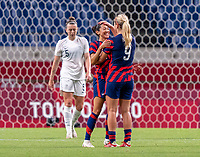 SAITAMA, JAPAN - JULY 24: Christen Press #11 of the USWNT and Lindsey Horan #9 of the USWNT celebrate Press' goal during a game between New Zealand and USWNT at Saitama Stadium on July 24, 2021 in Saitama, Japan.