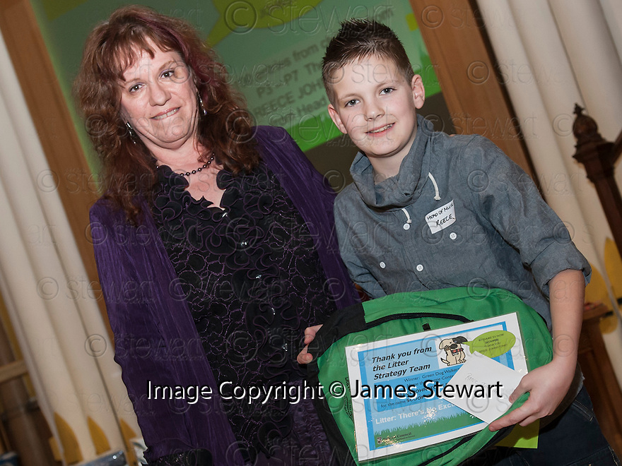 """Litter Strategy Awards 2013 : Michelle McCallum presents the award to Reece Johnstone who came up with the name """"Scooper"""" for the Green Walkers Dog."""