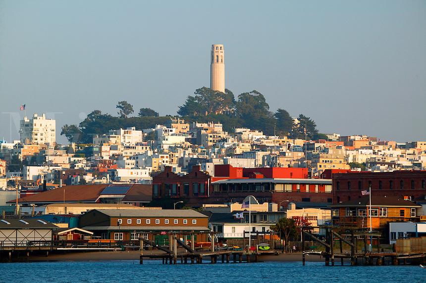 Coit Tower from Fisherman's Wharf, San Francisco, California