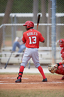 Washington Nationals Victor Robles (13) at bat during a minor league Spring Training game against the St. Louis Cardinals on March 27, 2017 at the Roger Dean Stadium Complex in Jupiter, Florida.  (Mike Janes/Four Seam Images)