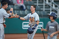 Rylan Bannon (6) of the Xavier Musketeers celebrates scoring a run against the Penn State Nittany Lions at Coleman Field at the USA Baseball National Training Center on February 25, 2017 in Cary, North Carolina. The Musketeers defeated the Nittany Lions 7-5 in game two of a double header. (Brian Westerholt/Four Seam Images)