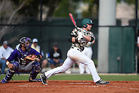 Slippery Rock Adam Urbania (20) at bat in front of catcher Josh Galvan (23) during a game against the Kentucky Wesleyan Panthers on March 9, 2015 at Jack Russell Stadium in Clearwater, Florida.  Kentucky Wesleyan defeated Slippery Rock 5-4.  (Mike Janes/Four Seam Images)