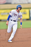 Tennessee Smokies designated hitter Ian Happ (1) runs to third during a game against the Jackson Generals at Smokies Stadium on July 5, 2016 in Kodak, Tennessee. The Generals defeated the Smokies 6-4. (Tony Farlow/Four Seam Images)