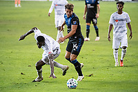 SAN JOSE, CA - NOVEMBER 04: Jesus David Murillo #94 of the Los Angeles FC battles with Cade Cowell #44 of the San Jose Earthquakes during a game between Los Angeles FC and San Jose Earthquakes at Earthquakes Stadium on November 04, 2020 in San Jose, California.
