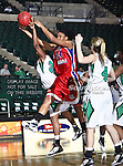 South Alabama Jaguars forward Taylor Ammons (24) drives past North Texas Mean Green guard Tamara Torru (34) during the NCAA Women's basketball game between the South Alabama Jaguars and the University of North Texas Mean Green at the North Texas Coliseum,the Super Pit, in Denton, Texas. South Alabama defeated UNT 79 to 61.
