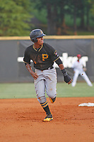 Bristol Pirates designated hitter Mikell Granberry (7) on the  base paths during a game against the Greeneville Reds at Pioneer Field on June 19, 2018 in Greeneville, Tennessee. Bristol defeated Greeneville 10-2. (Robert Gurganus/Four Seam Images)