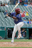 Frisco RoughRiders Juremi Profar (13) bats during a Texas League game against the Midland RockHounds on May 21, 2019 at Dr Pepper Ballpark in Frisco, Texas.  (Mike Augustin/Four Seam Images)