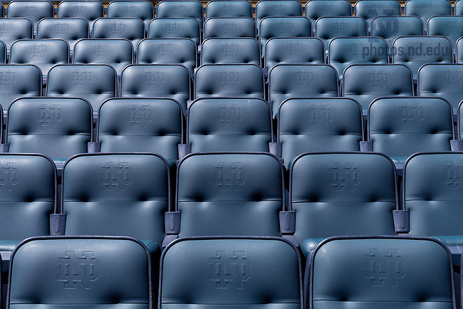 April 21, 2018; Blue chair back seats in Notre Dame Stadium (Photo by Matt Cashore/University of Notre Dame)