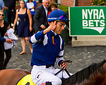 ELMONT, NY - JULY 08:  Oscar Performance #4, ridden by Jose Ortiz, wins the Belmont Derby Invitational Stakes at Belmont Park on July 8, 2017 in Elmont, New York (Photo by Sue Kawczynski/Eclipse Sportswire/Getty Images)