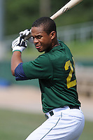 Outfielder L.V. Ware (24) of the Lynchburg Hillcats, Carolina League affiliate of the Atlanta Braves, prior to a game against the Wilmington Blue Rocks on June 15, 2011, at City Stadium in Lynchburg, Va. (Tom Priddy/Four Seam Images)