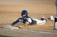 Ethan Murray (2) (Duke) of the High Point-Thomasville HiToms slides head-first into third base during the game against the Deep River Muddogs at Finch Field on June 27, 2020 in Thomasville, NC.  The HiToms defeated the Muddogs 11-2. (Brian Westerholt/Four Seam Images)