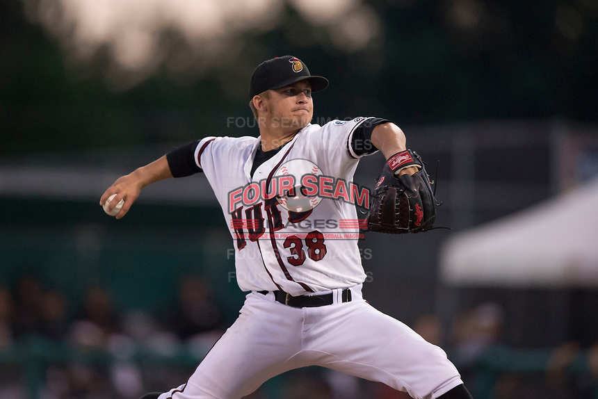 Modesto Nuts relief pitcher Randy Bell (38) delivers a pitch to the plate during a California League game against the Lake Elsinore Storm at John Thurman Field on May 12, 2018 in Modesto, California. Lake Elsinore defeated Modesto 4-1. (Zachary Lucy/Four Seam Images)