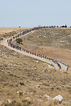The peloton strung out during Stage 4 of La Vuelta d'Espana 2021, running 163.9km from Burgo de Osma to Molina de Aragon, Spain. 17th August 2021.    <br /> Picture: Luis Angel Gomez/Photogomezsport | Cyclefile<br /> <br /> All photos usage must carry mandatory copyright credit (© Cyclefile | Luis Angel Gomez/Photogomezsport)