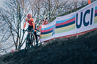 Inge van der Heijden (NED) on her way to the rainbow jersey & gold medal<br /> <br /> Women's U23 race<br /> <br /> UCI 2019 Cyclocross World Championships<br /> Bogense / Denmark<br /> <br /> ©kramon