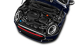 Car stock 2019 Mini Clubman John Cooper Works ALL4 5 Door Wagon engine high angle detail view