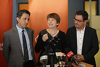 March 5, 2014 - (Left to Right ) Andres Fontecilla, <br /> Françoise David, spoke person for  Quebec solidaire, Amir Khadir,MNA, Mercier react to the provincial elections announced today by Quebec Premier Pauline Marois,<br /> <br /> Andres Fontecilla et Françoise David, porte-parole de Quebec solidaire, ainsi que le depute de Mercier, M. Amir Khadir, reagissent  au déclenchement des élections. <br /> <br /> <br /> Photo : Pierre Roussel