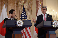 Washington, DC - February 7, 2014: Secretary of State John Kerry and Japanese Foreign Minister Fumio Kishida make remarks to the media after meeting at the State Department, February 7, 2014. (Photo by Don Baxter/Media Images International)
