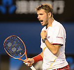 Stanislaus Wawrinka (SUI) defeats Rafael Nadal (ESP) 6-3, 6-2, 3-6, 6-3 in the finals at the Australian Open in Melbourne, Australia on January 26, 2014