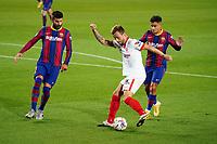 4th October 2020; Camp Nou, Barcelona, Catalonia, Spain; La Liga Football, Barcelona versus Sevilla;  rakitic gets his shot on goal as Pique of Barca closes in