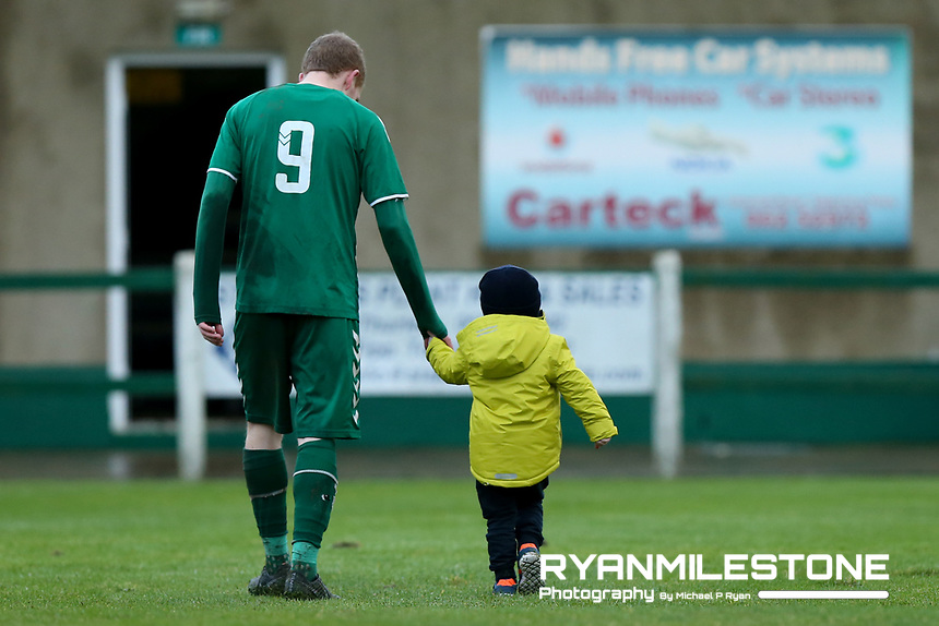 David Slattery of St Michael's with his son Dylan at the end of the FAI Junior Cup 6th Round game between St Michael's and Newmarket Celtic  on Sunday 13th January 2019 at Cooke Park, Tipperary Town, Co Tipperary. Mandatory Credit: Michael P Ryan.