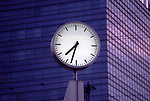 Europe, DEU, Germany, Northrhine Westphalia, Ruhr district, Ruhr area, Duisburg, Clock in front of the Office Building, Dial face....[ For each utilisation of my images my General Terms and Conditions are mandatory. Usage only against use message and proof. Download of my General Terms and Conditions under http://www.image-box.com or ask for sending. A clearance before usage is necessary...Material is subject to royalties. Each utilisation of my images is subject to a fee in accordance to the present valid MFM-List...Contact | archive@image-box.com | www.image-box.com ]