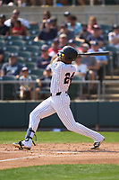 Somerset Patriots Isiah Gilliam (24) hits a home run during a game against the Hartford Yard Goats on September 12, 2021 at TD Bank Ballpark in Bridgewater, New Jersey.  (Mike Janes/Four Seam Images)