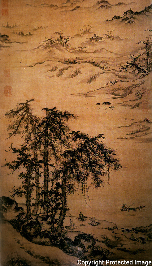 "Chinese Painting:  1.  ""Playing the Zither beneath the Trees"". Zhu Derun, Yuan Dynasty. Ink on silk. Pine trees in the foreground, vast distances behind."