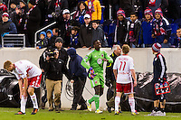 D. C. United goalkeeper Bill Hamid (28) walks off the field after being red carded. D. C. United defeated the New York Red Bulls 1-0 (2-1 in aggregate) during the second leg of the MLS Eastern Conference Semifinals at Red Bull Arena in Harrison, NJ, on November 8, 2012.