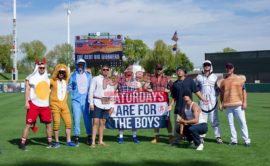 Members of the Scottsdale Scorpions pose for a photo in their Halloween costumes before an Arizona Fall League game against the Glendale Desert Dogs on October 31, 2017 at Scottsdale Stadium in Scottsdale, Arizona. Pictured from left to right: Jake Ehret, Tomas Nido, Cody Carroll, Tyler Cyr, Matt Pobereyko, Kyle Regnault, Justus Sheffield, Brennan Bernardino, Joel Bender, and Tim Peterson. (Zachary Lucy/Four Seam Images)
