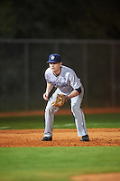 Georgetown Hoyas third baseman AJ Lotsis (5) during a game against the Chicago State Cougars on March 3, 2017 at North Charlotte Regional Park in Port Charlotte, Florida.  Georgetown defeated Chicago State 11-0.  (Mike Janes/Four Seam Images)