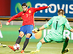 Spain's Alvaro Morata (l) and Liechtenstein's Peter Jehle during FIFA World Cup 2018 Qualifying Round match. September 5,2016.(ALTERPHOTOS/Acero)