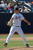 Tyler Peitzmeier #51 of the Cal State Fullerton Titans pitches against the TCU Horned Frogs at Goodwin Field on February 26, 2012 in Fullerton,California. Fullerton defeated TCU 11-10.(Larry Goren/Four Seam Images)