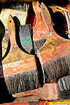 Close-up of used, color paintbrushes