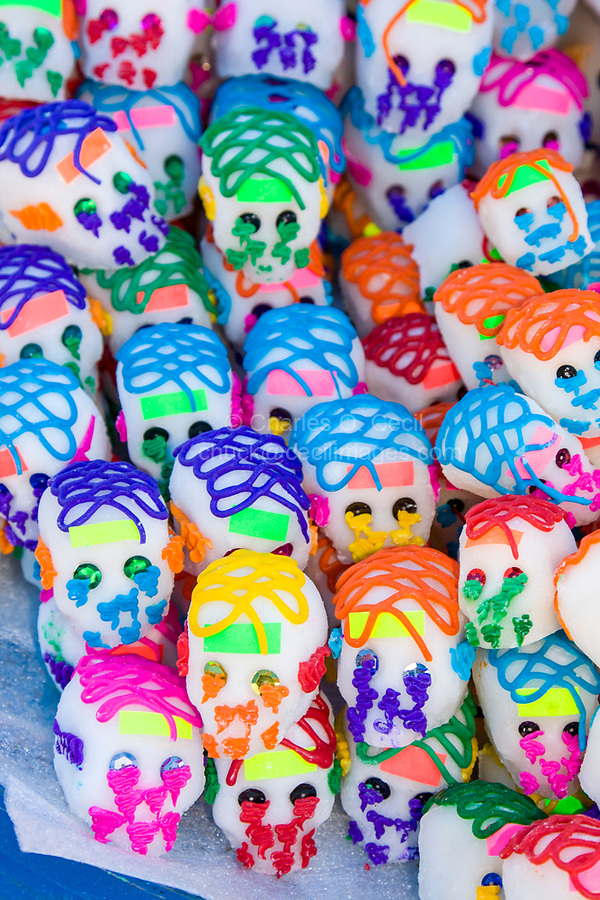 Tlacolula; Oaxaca; Mexico; North America.  Sugar Candy Skulls for Observance of The Day of the Dead (All Souls' Day).
