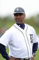 Detroit Tigers third base coach Dave Clark (25) during a spring training game against the Atlanta Braves on February 27, 2014 at Joker Marchant Stadium in Lakeland, Florida.  Detroit defeated Atlanta 5-2.  (Mike Janes/Four Seam Images)