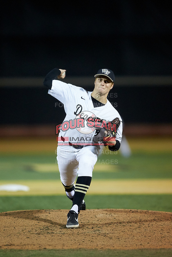 Wake Forest Demon Deacons starting pitcher Colin Peluse (8) in action against the Elon Phoenix at David F. Couch Ballpark on February 24, 2019 in  Winston-Salem, North Carolina. (Brian Westerholt/Four Seam Images)