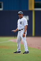 GCL Yankees East coach Antonio Pacheco during a Gulf Coast League game against the GCL Phillies West on July 26, 2019 at the New York Yankees Minor League Complex in Tampa, Florida.  (Mike Janes/Four Seam Images)