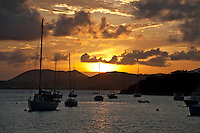 Sunset from Great Cruz Bay, St. John.U.S. Virgin Islands