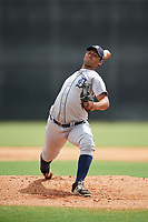 GCL Tigers West starting pitcher Daniel Gonzalez (10) delivers a pitch during a game against the GCL Yankees West on August 10, 2018 at Yankee Complex in Tampa, Florida.  GCL Yankees West defeated GCL Tigers West 6-5.  (Mike Janes/Four Seam Images)