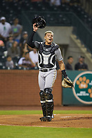 West Virginia Power catcher Deon Stafford (22) on defense against the Greensboro Grasshoppers at First National Bank Field on June 1, 2018 in Greensboro, North Carolina. The Grasshoppers defeated the Power 10-3. (Brian Westerholt/Four Seam Images)