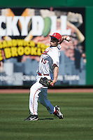 Ball State Cardinals Matt Eppers (35) during practice before a game against the Louisville Cardinals on February 19, 2017 at Spectrum Field in Clearwater, Florida.  Louisville defeated Ball State 10-4.  (Mike Janes/Four Seam Images)