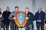 Tom Keane presents the County League Shield to Ronan Shanahan to Austin  Stacks capatin Ronan Shanahan after the County League final in Rathmore on Sunday