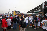 Jul. 28, 2013; Sonoma, CA, USA: NHRA fans gather around the pits of funny car driver Matt Hagan during the Sonoma Nationals at Sonoma Raceway. Mandatory Credit: Mark J. Rebilas-