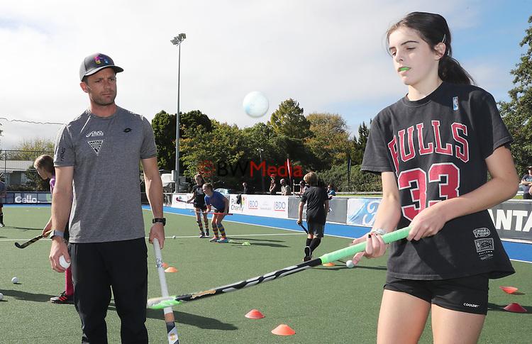 Kids hockey skills session St Pauls Collegiate, Hamilton, New Zealand. Monday 19 April 2021 Photo: Mark Taylor/www.bwmedia.co.nz