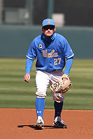 Jack Filby (27) of the UCLA Bruins  during a game against the Cal State Fullerton Titans at Jackie Robinson Stadium on March 6, 2021 in Los Angeles, California. UCLA defeated Cal State Fullerton, 6-1. (Larry Goren/Four Seam Images)