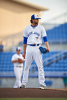 Dunedin Blue Jays relief pitcher T.J. Zeuch (35) looks in for the sign during a game against the St. Lucie Mets on April 20, 2017 at Florida Auto Exchange Stadium in Dunedin, Florida.  Dunedin defeated St. Lucie 6-4.  (Mike Janes/Four Seam Images)
