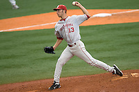 Pitcher Dillon Overton #13 of the Oklahoma Sooners against the Texas Longhorns in NCAA Big XII baseball on May 1, 2011 at Disch Falk Field in Austin, Texas. (Photo by Andrew Woolley / Four Seam Images)